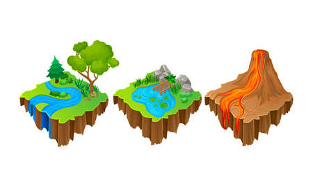 Floating Game Islands with Forest and Volcano Vector Set 向量圖像