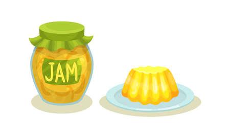 Lemon Jam in Glass Jar and Pudding Vector Set