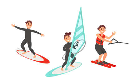 People Characters Surfboarding and Water Skiing Vector Illustration Set