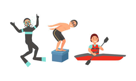 People Characters Scuba Diving and Kayaking Vector Illustration Set