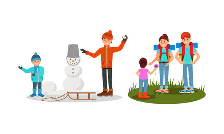 Man and Woman Parents Hiking with Kid and Building Snowman Vector Illustration Set