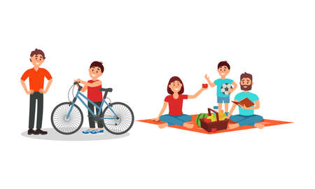 Man and Woman Parents with Kid Having Picnic and Cycling Vector Illustration Set 일러스트