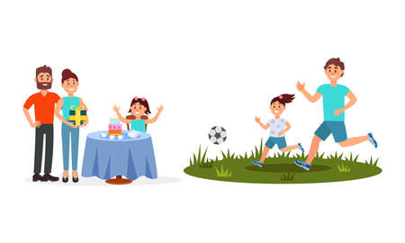 Man and Woman Parents with Kid Celebrating Birthday and Playing Football Vector Illustration Set