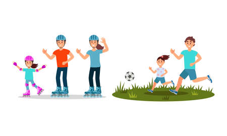 Man and Woman Parents with Kid Roller Skating and Playing Football Vector Illustration Set 일러스트