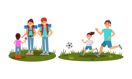 Man and Woman Parents with Kid Hiking with Backpack and Playing Football Vector Illustration Set 일러스트