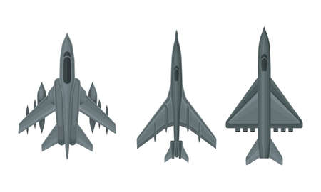 Jet Fighter and Aircraft Top View Vector Set 向量圖像