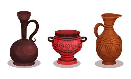 Ceramic Vessels and Containers for Interior and Kitchen Use Vector Set Ilustración de vector