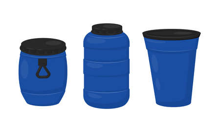 Blue Plastic Barrel with Closed Lid Vector Set Ilustrace