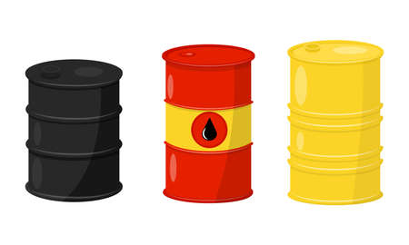Metal or Steel Barrel with Oil and Fluid Vector Set