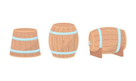 Wooden Barrels or Cask with Metal Hoops Vector Set
