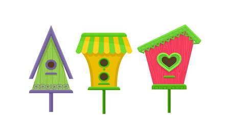 Wooden Nest Box or Birdhouse as Enclosure for Birds Vector Set
