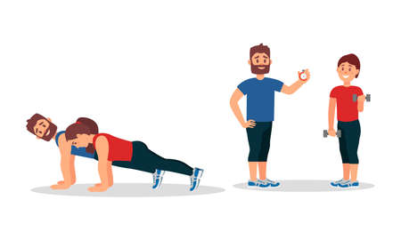 Bearded Man as Fitness Trainer or coach Giving Instructions in Gym Vector Illustration Set 免版税图像 - 157545572