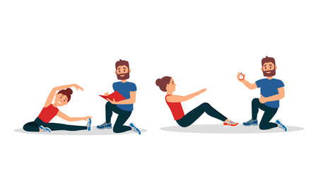 Bearded Man as Fitness Trainer or coach Giving Instructions in Gym Vector Illustration Set 矢量图像