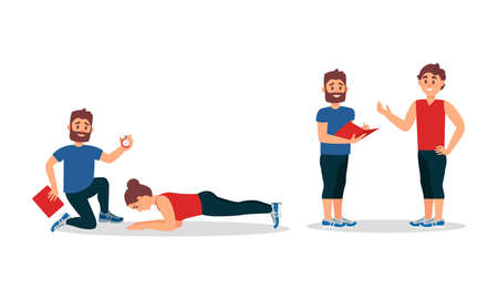 Bearded Man as Fitness Trainer or oach Giving Instructions in Gym Vector Illustration Set
