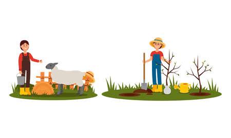 Woman Farmer Planting Tree Seedling and Feeding Livestock Vector Illustration Set Vettoriali