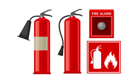 Active Fire Protection Devices with Fire Extinguisher and Fire Alarm Button Vector Set 矢量图像