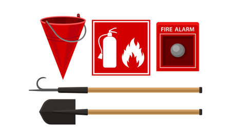 Active Fire Protection Devices with Fire Alarm Button and Fire Bucket Vector Set