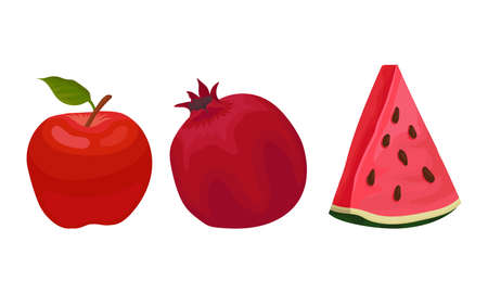 Ripe and Fresh Fruits Isolated on White Background Vector Set