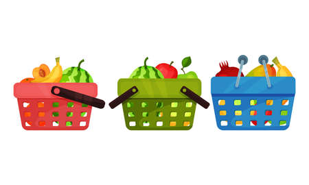 Sweet Fruits with Watermelon and Banana in Basket Vector Set