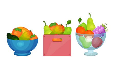 Sweet Fruits with Mango and Pear in Bowls Vector Set