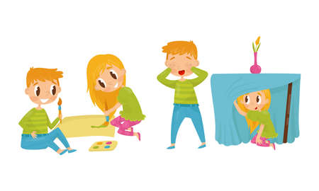 Little Boy and Girl Painting and Playing Hide-and-seek Vector Illustration Set
