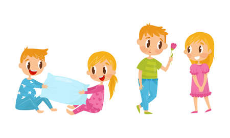 Little Boy and Girl Pillow Fighting and Giving Flower Vector Illustration Set
