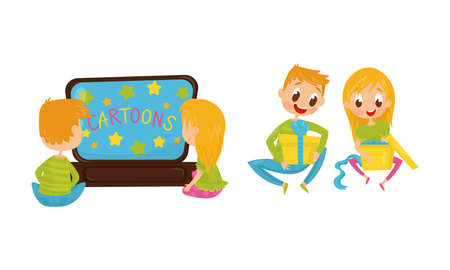 Little Boy and Girl Watching Cartoons and Unwrapping Gift Boxes Vector Illustration Set Illusztráció
