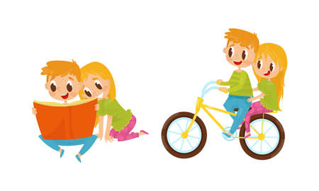 Little Boy and Girl Reading Book and Cycling Vector Illustration Set
