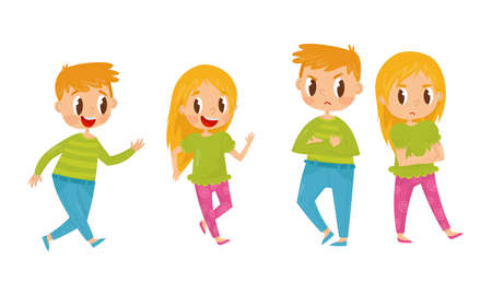 Little Boy and Girl Playing Catch-up and Getting Angry with Each Other Vector Illustration Set