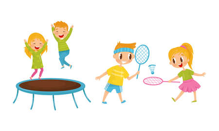 Little Boy and Girl Jumping on Trampoline and Playing Badminton Vector Illustration Set