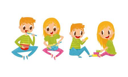 Little Boy and Girl Eating Porridge and Playing Toy Blocks Vector Illustration Set