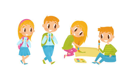Little Boy and Girl Painting with Brush and Going to School with Backpacks Vector Illustration Set