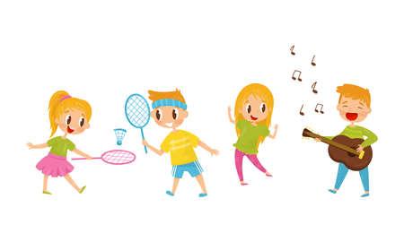 Little Boy and Girl Playing Guitar and Badminton Vector Illustration Set Illusztráció
