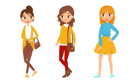 Pretty Teenager Girls Dressed in Fashionable Clothing Vector Illustration Set