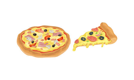 Hot and Round Tasty Pizza and Slice with Melting Cheese Vector Set