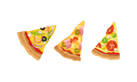 Slices of Hot and Tasty Pizza with Melting Cheese Vector Set 向量圖像