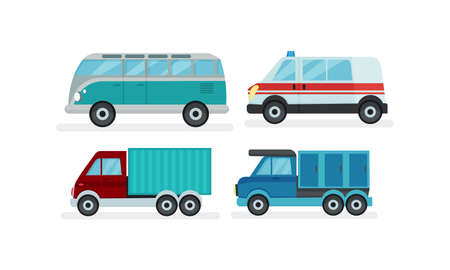 Urban Cars or Automobile as Wheeled Motor Vehicle Used for Transportation Vector Set 向量圖像