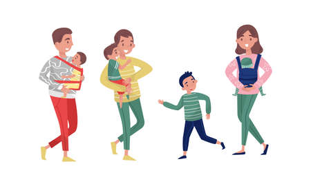 Young Man and Woman Parents Walking with Their Kids Outdoor Vector Illustration Set