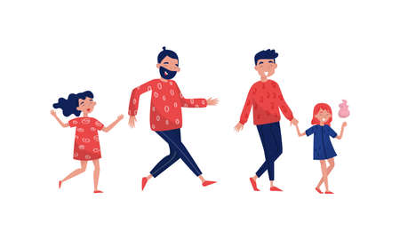 Young Father Walking with His Son and Daughter Vector Illustration Set