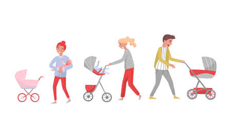 Young Man and Woman Parents Walking with Baby Carriage in the Park Vector Illustration Set