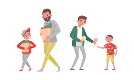 Young Father Walking with His Son and Carrying Shopping Bags Vector Illustration Set