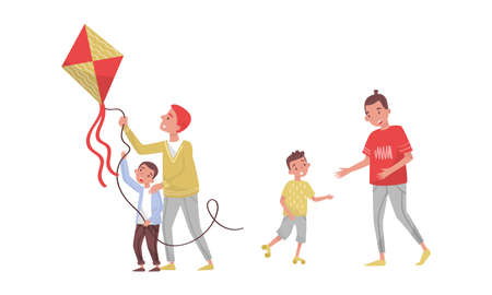 Young Father and His Son Flying Kite Vector Illustration Set