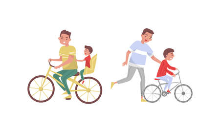 Young Father and His Son Cycling Vector Illustration Set