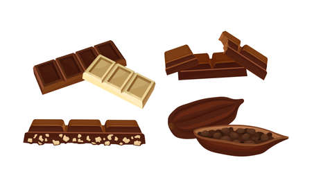 Parts of Chocolate Bar or Candy Bar as Confection of Rectangular Form with Nuts Vector Set