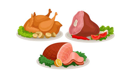 Roasted Chicken and Mutton-ham Served on Plate with Green Salad Leaves Vector Set