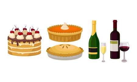 Baked Sweet Pie and Layered Cake with Bottle of Alcoholic Drink Vector Set