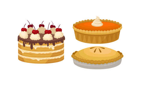 Baked Sweet Pie with Filling and Crust and Layered Cake with Whipped Cream on Top Vector Set.
