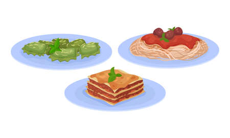 Lasagna and Shaped Pasta with Tomato Sauce as Italian Cuisine Dish Vector Set