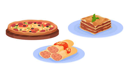 Pizza and Lasagna Pasta with as Italian Cuisine Dish Vector Set 向量圖像