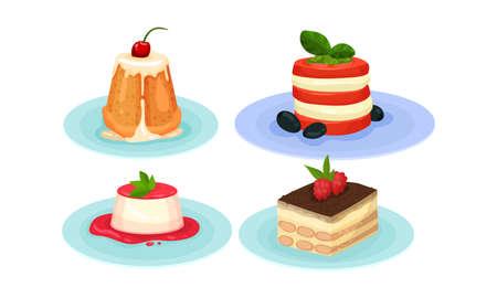 Tiramisu Cake Layered with Whipped Cream and Mascarpone Cheese and Pudding Vector Set